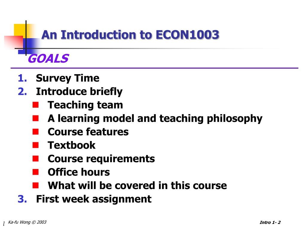 An Introduction to ECON1003