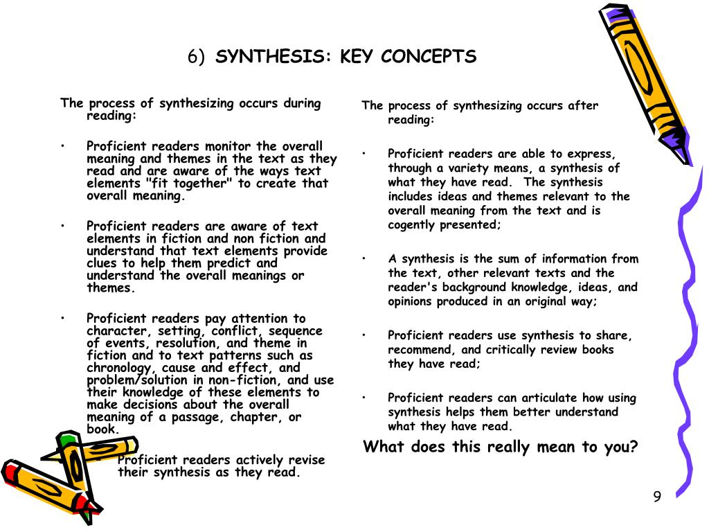 The process of synthesizing occurs during reading: