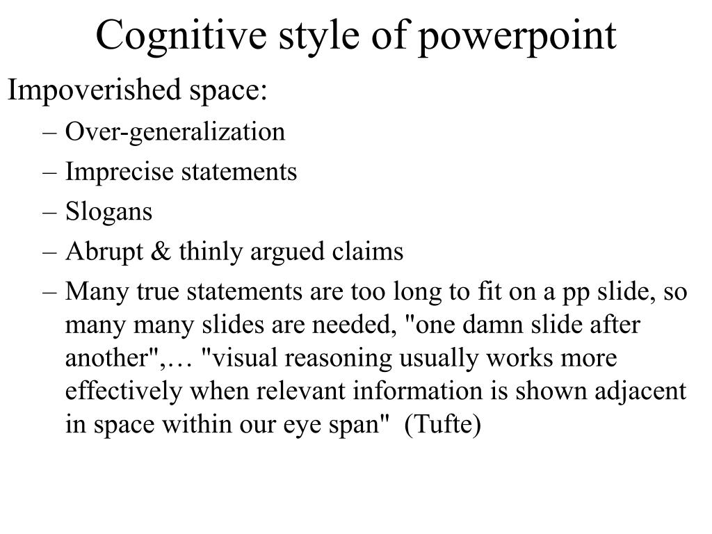 Cognitive style of powerpoint