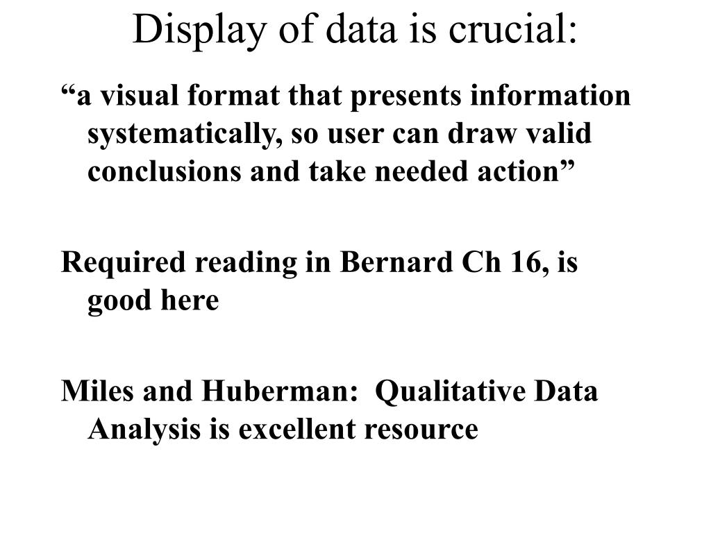 Display of data is crucial: