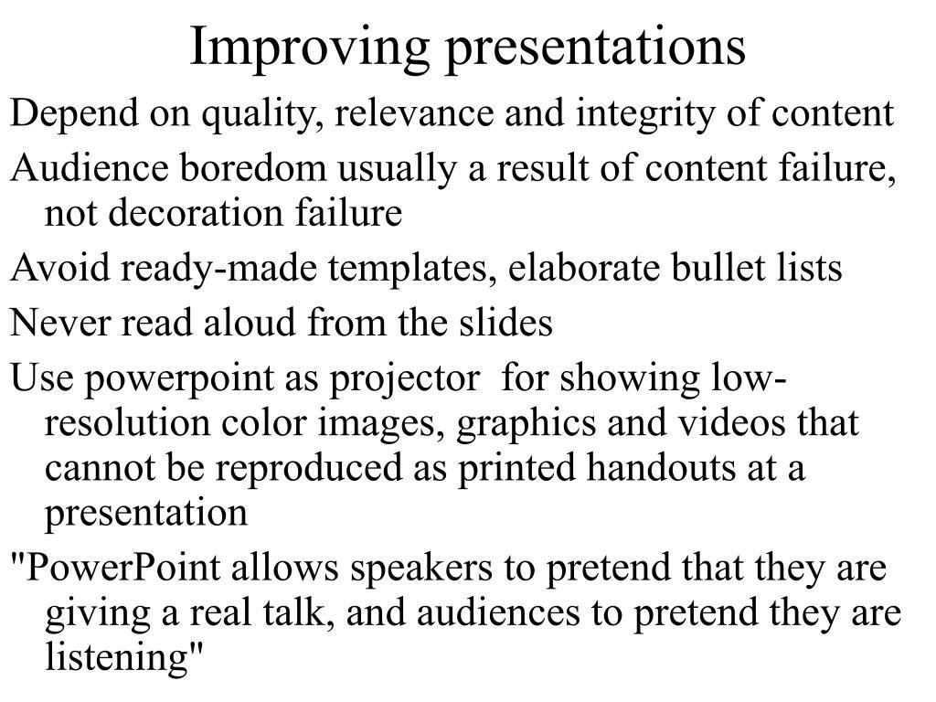 Improving presentations