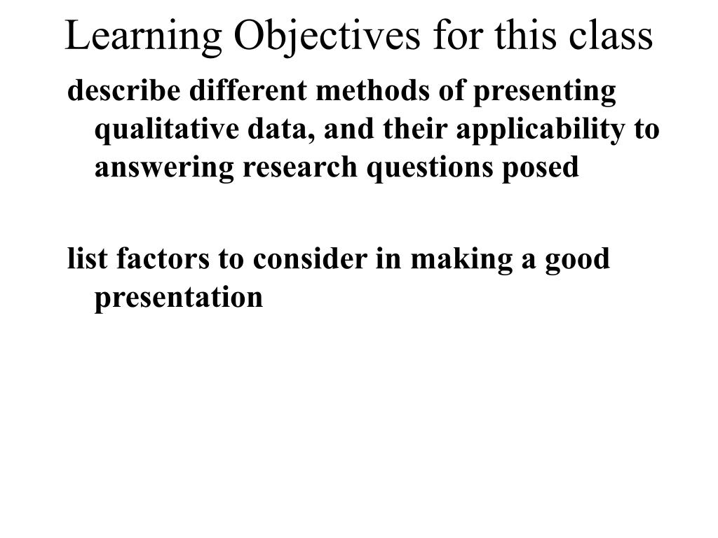 Learning Objectives for this class