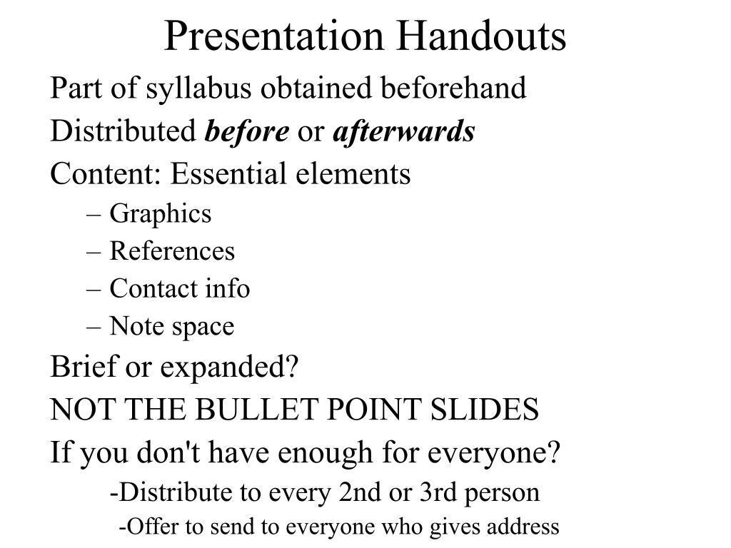 Presentation Handouts