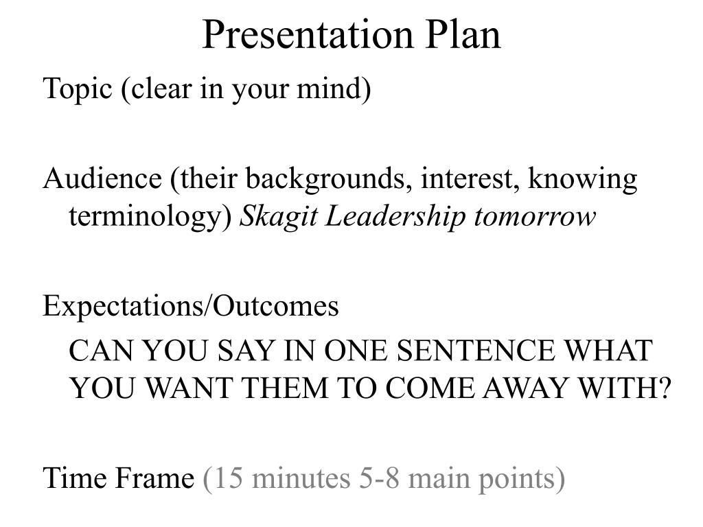 Presentation Plan