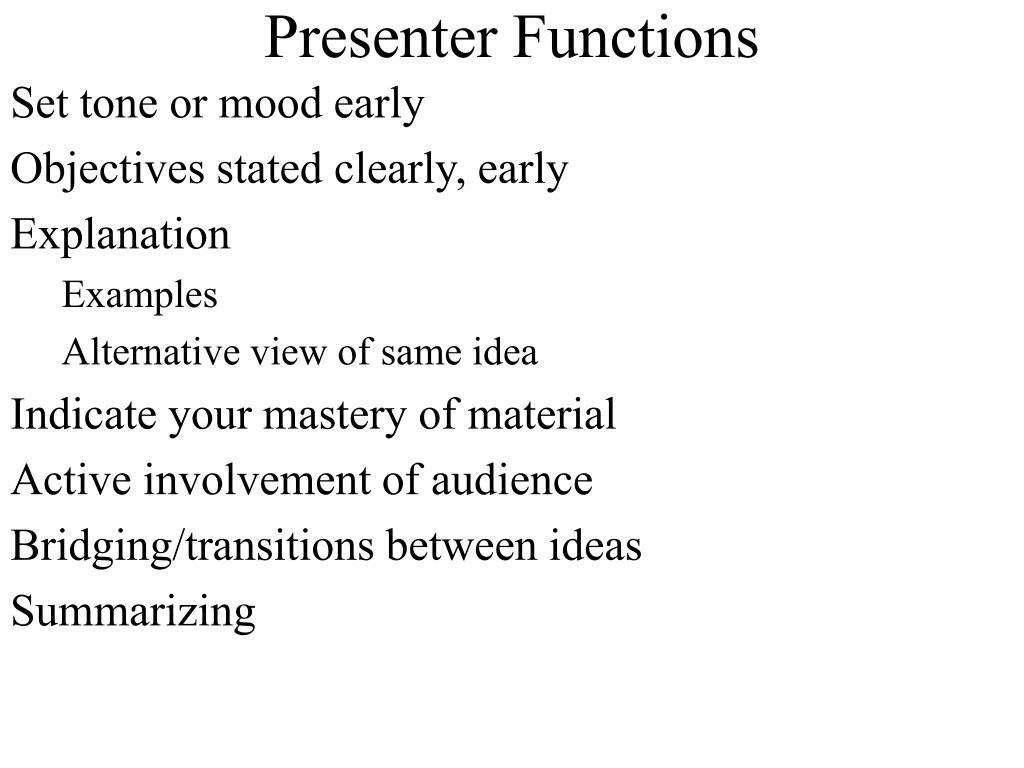 Presenter Functions
