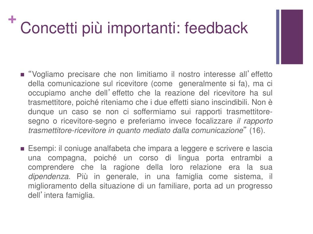 Concetti più importanti: feedback