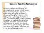 general reading techniques