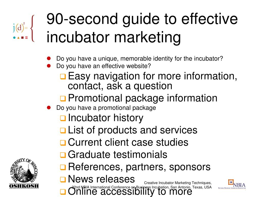 90-second guide to effective incubator marketing