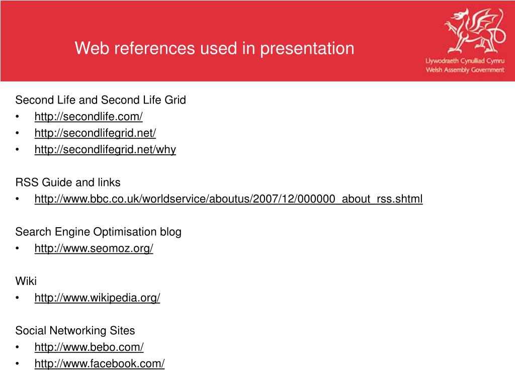 Web references used in presentation