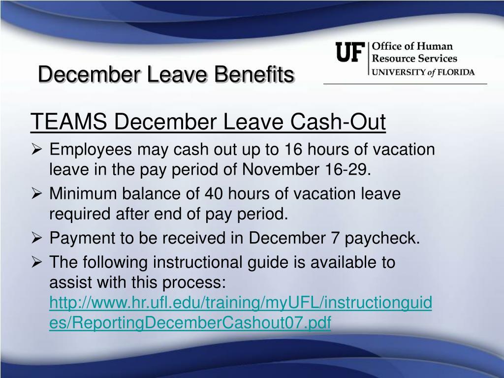 TEAMS December Leave Cash-Out