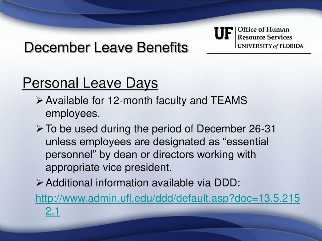 December Leave Benefits
