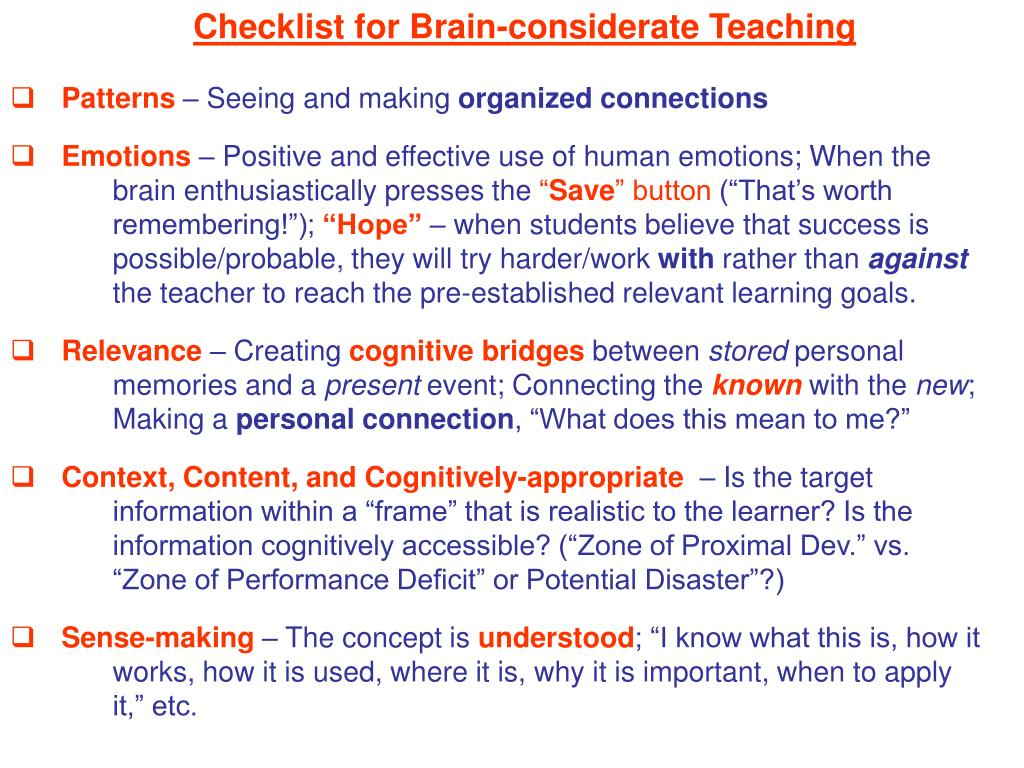 Checklist for Brain-considerate Teaching