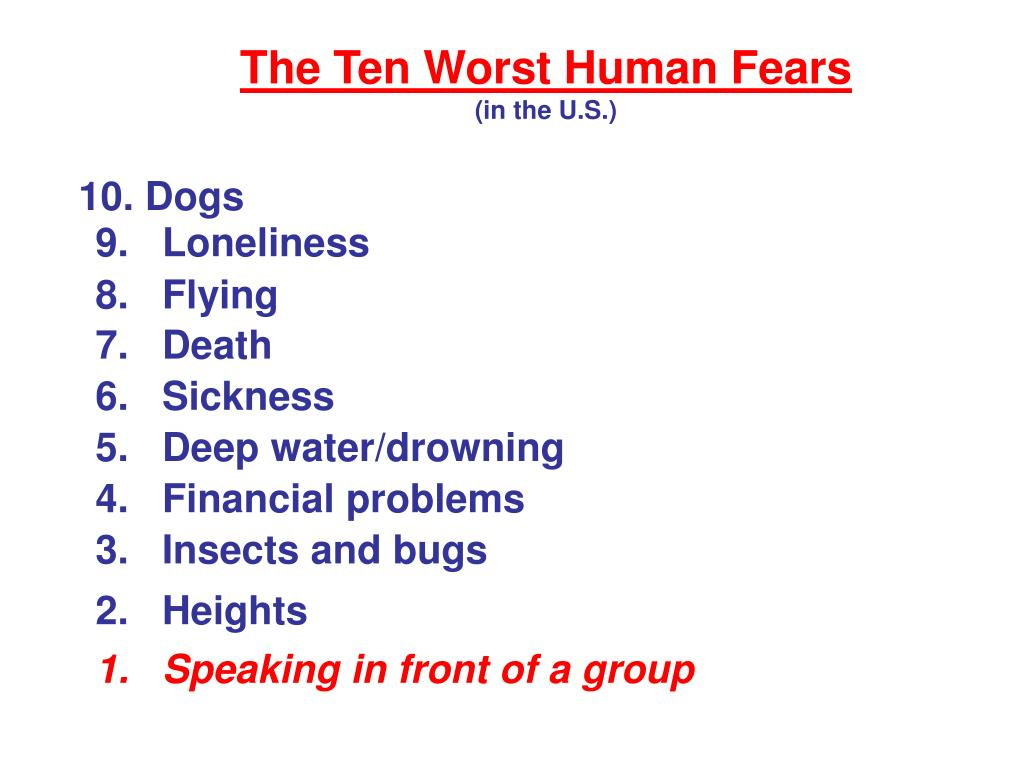 The Ten Worst Human Fears