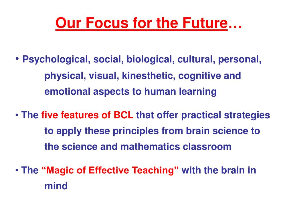 Our Focus for the Future