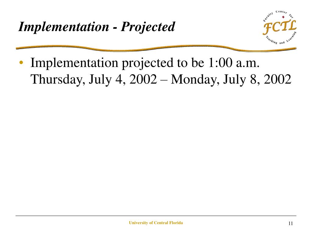 Implementation - Projected