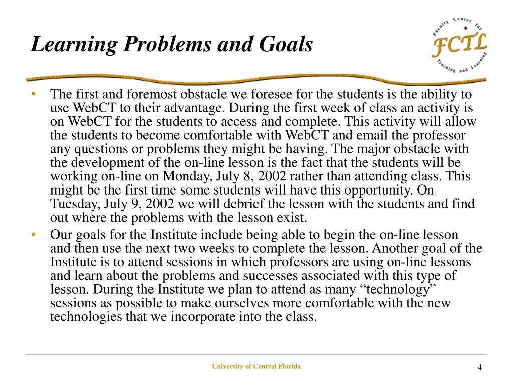 Learning Problems and Goals