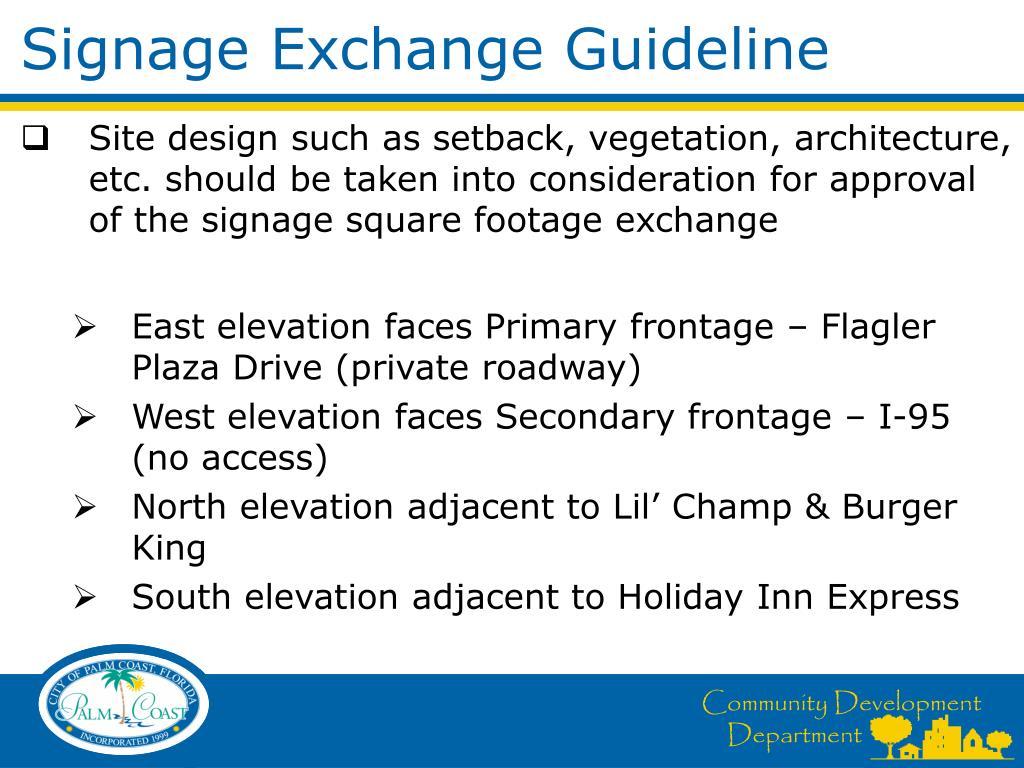 Signage Exchange Guideline