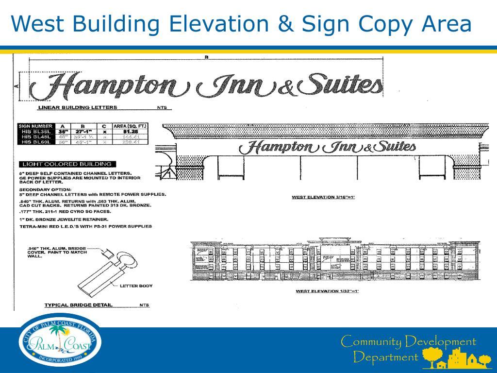 West Building Elevation & Sign Copy Area