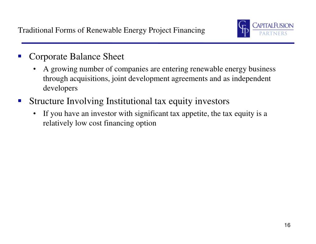Traditional Forms of Renewable Energy Project Financing