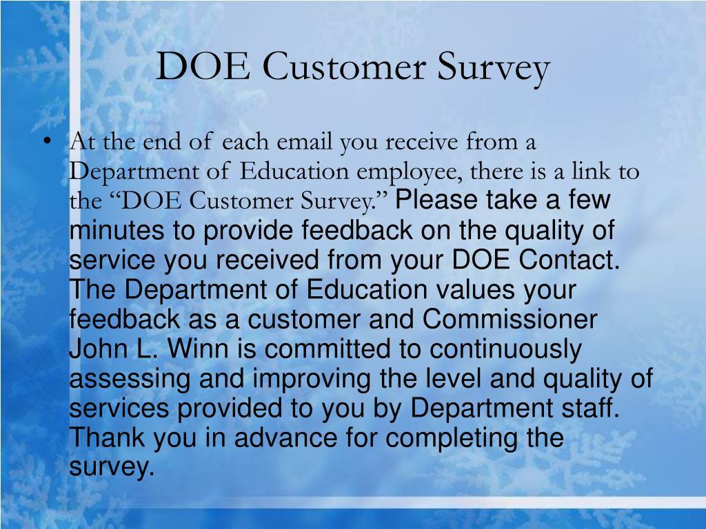 DOE Customer Survey
