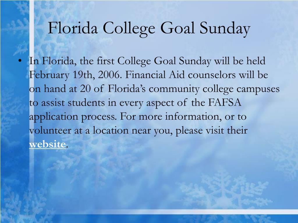 Florida College Goal Sunday