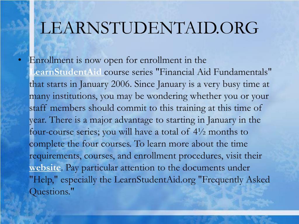 LEARNSTUDENTAID.ORG