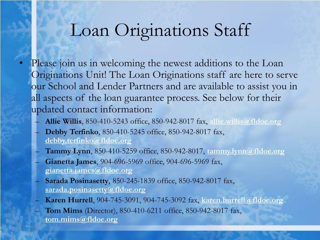 Loan Originations Staff