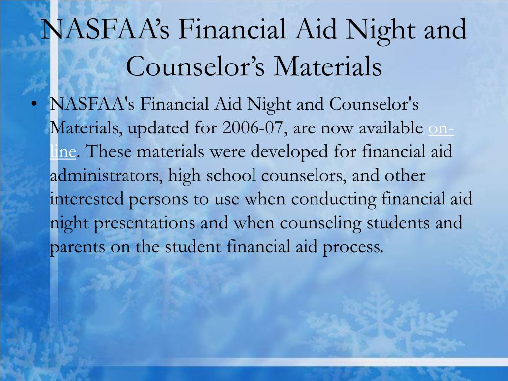 NASFAA's Financial Aid Night and Counselor's Materials