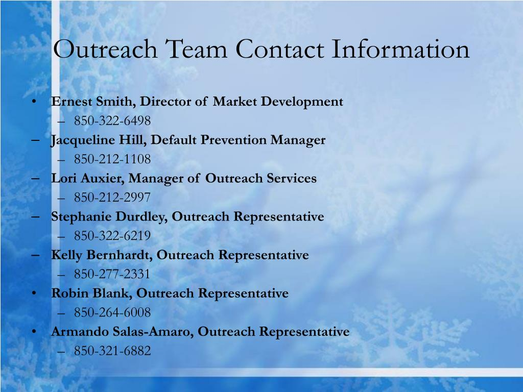 Outreach Team Contact Information