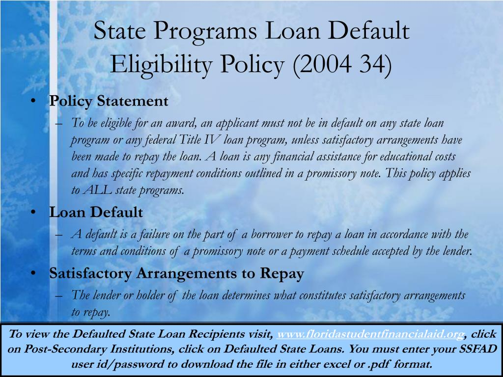 State Programs Loan Default