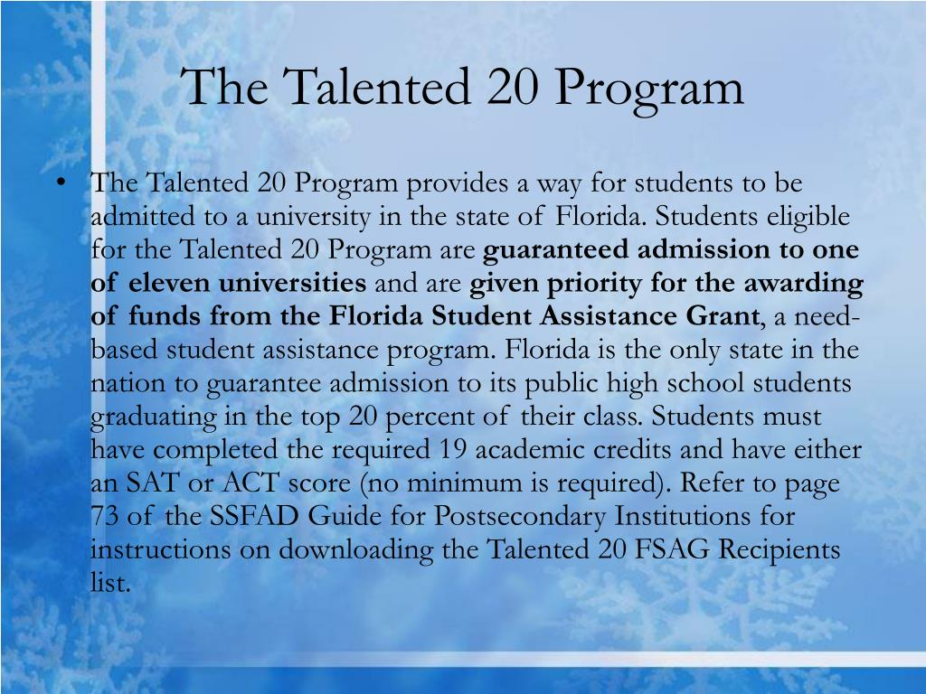 The Talented 20 Program