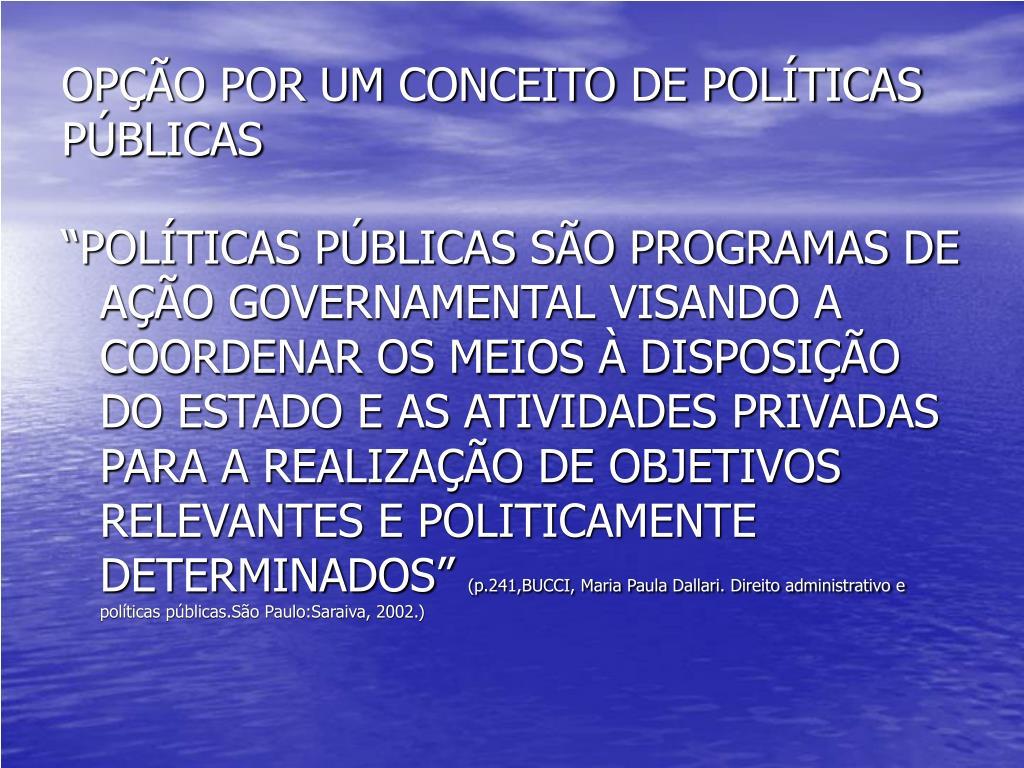 OPÇÃO POR UM CONCEITO DE POLÍTICAS PÚBLICAS