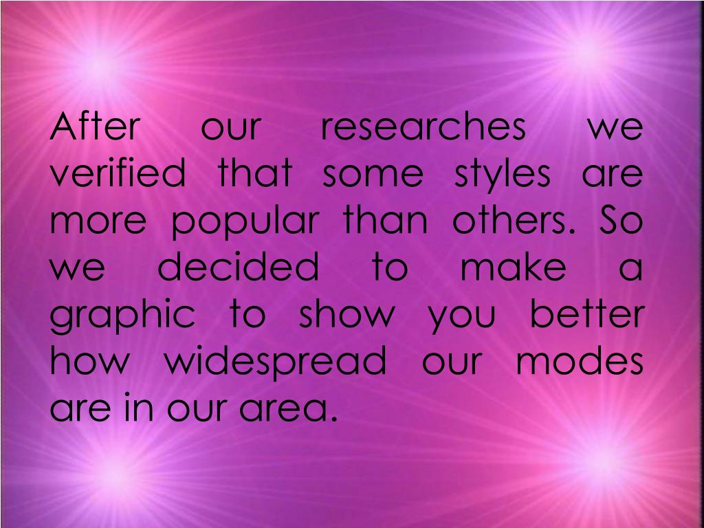 After our researches we  verified that some styles are more popular than others. So we decided to make a  graphic to show you better how widespread our modes are in our area.