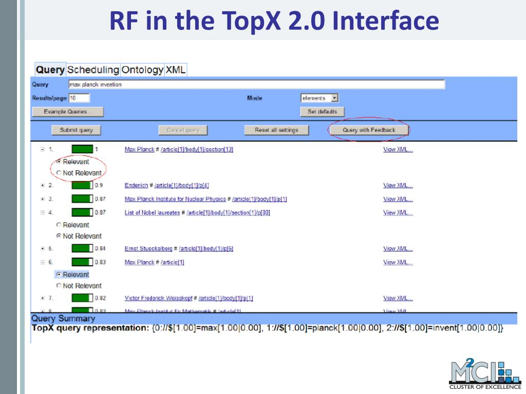 RF in the TopX 2.0 Interface