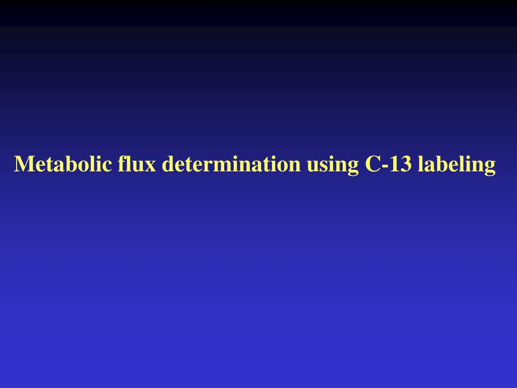 Metabolic flux determination using C-13 labeling