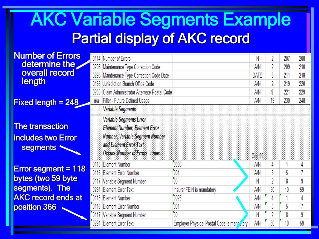 Number of Errors determine the overall record length