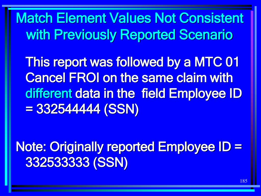 Match Element Values Not Consistent with Previously Reported Scenario