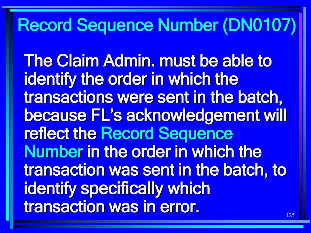 Record Sequence Number (DN0107)