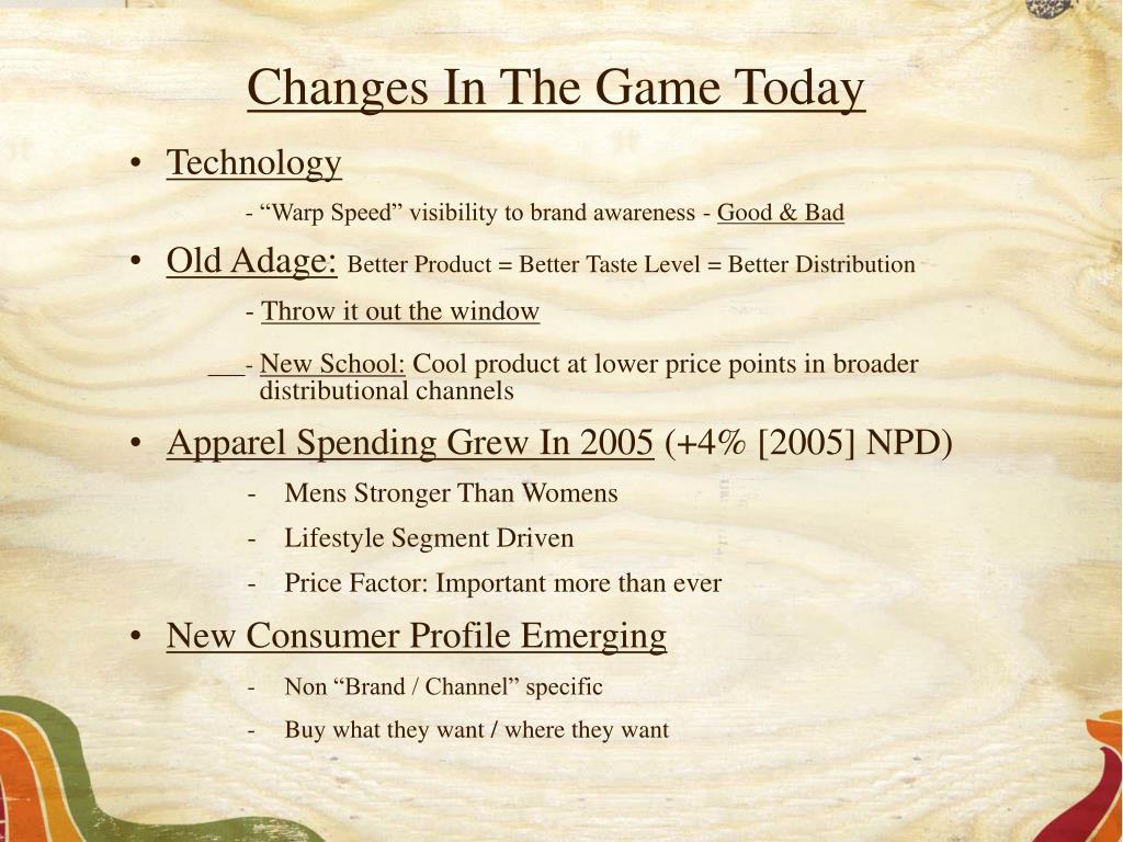 Changes In The Game Today