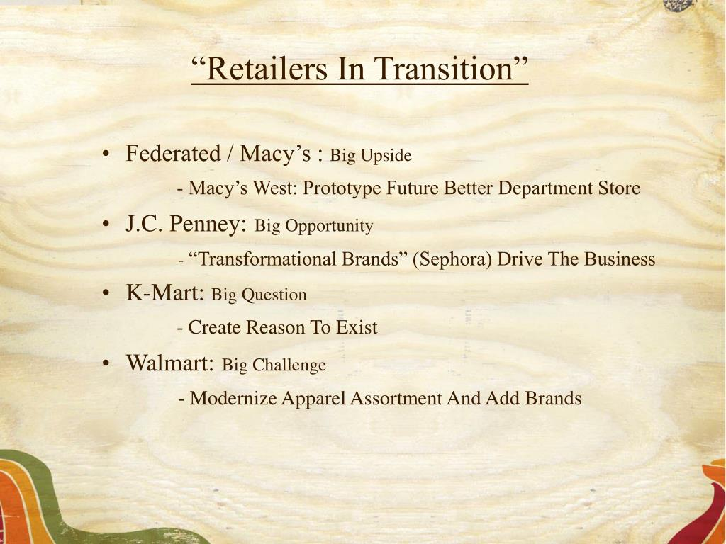 """""""Retailers In Transition"""""""