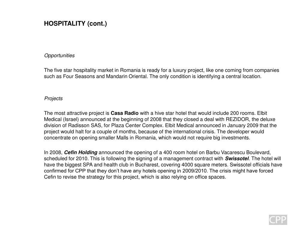 HOSPITALITY (cont.)