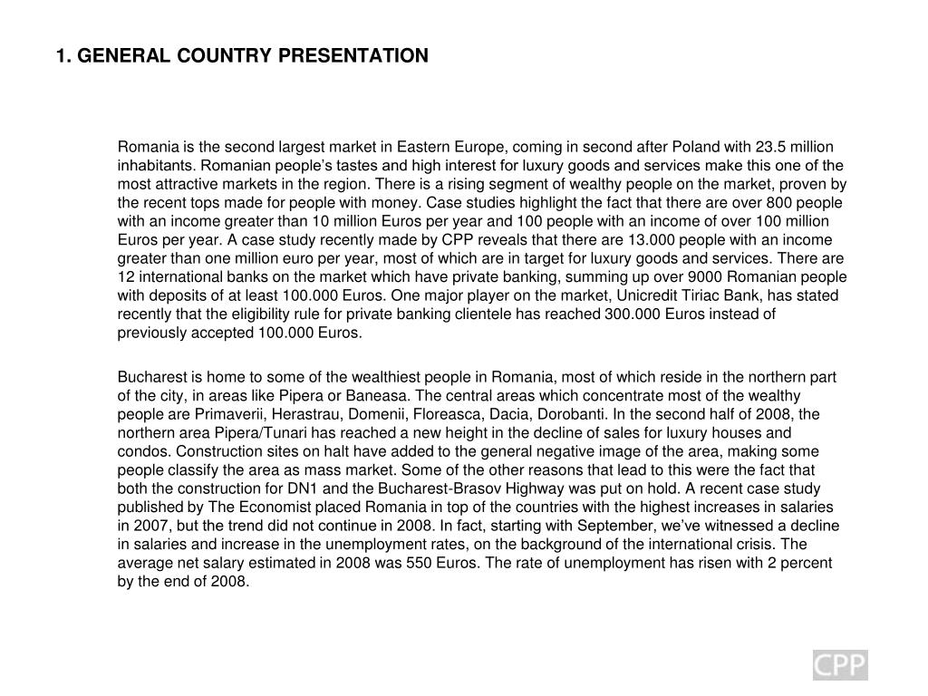 1. GENERAL COUNTRY PRESENTATION