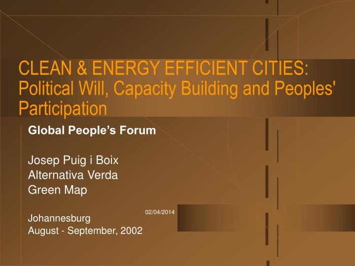 Clean energy efficient cities political will capacity building and peoples participation
