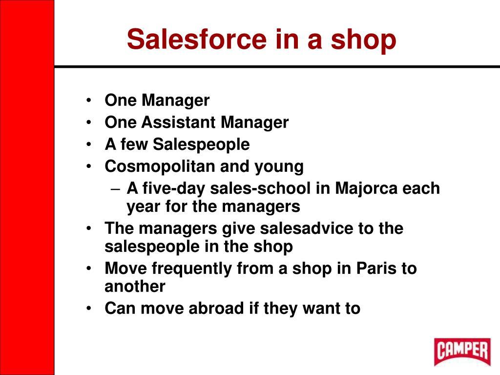 Salesforce in a shop