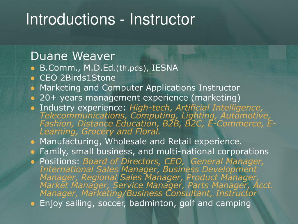 Introductions - Instructor