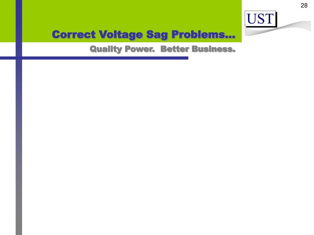 Correct Voltage Sag Problems…