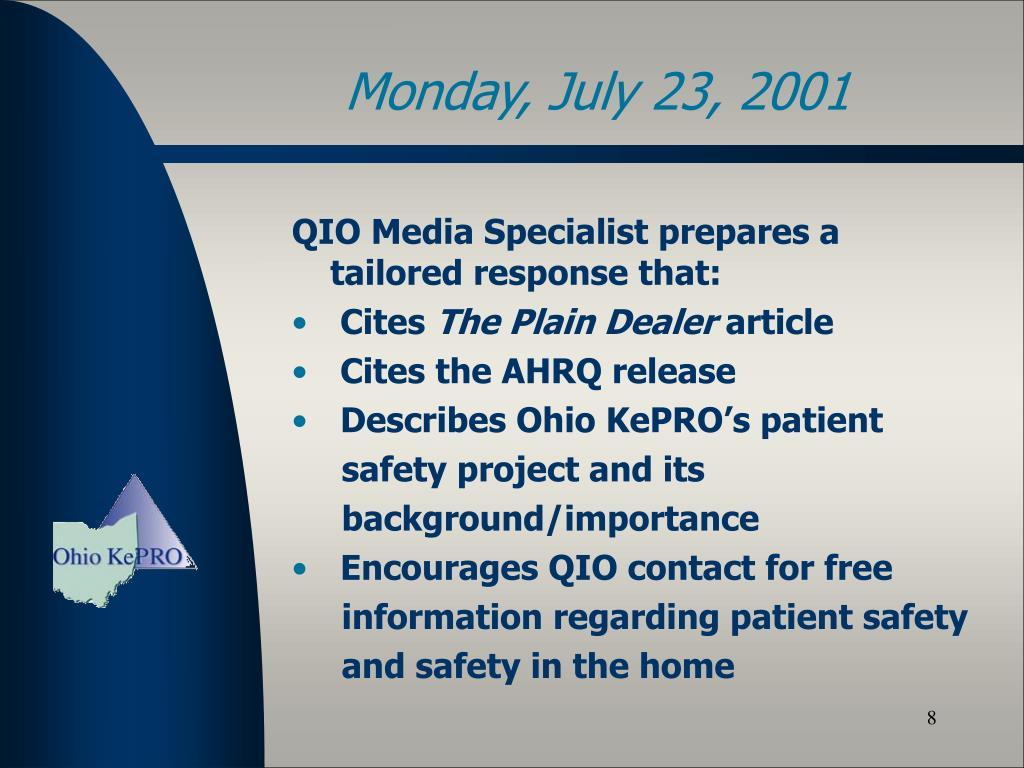 QIO Media Specialist prepares a tailored response that: