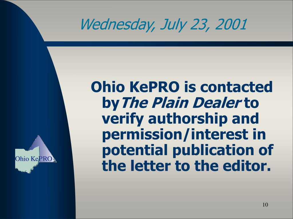 Ohio KePRO is contacted by