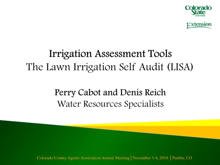 Irrigation Assessment Tools