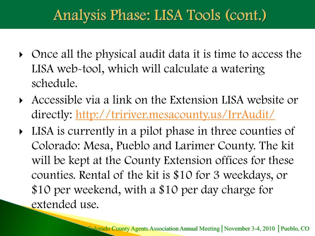 Analysis Phase: LISA Tools (cont.)